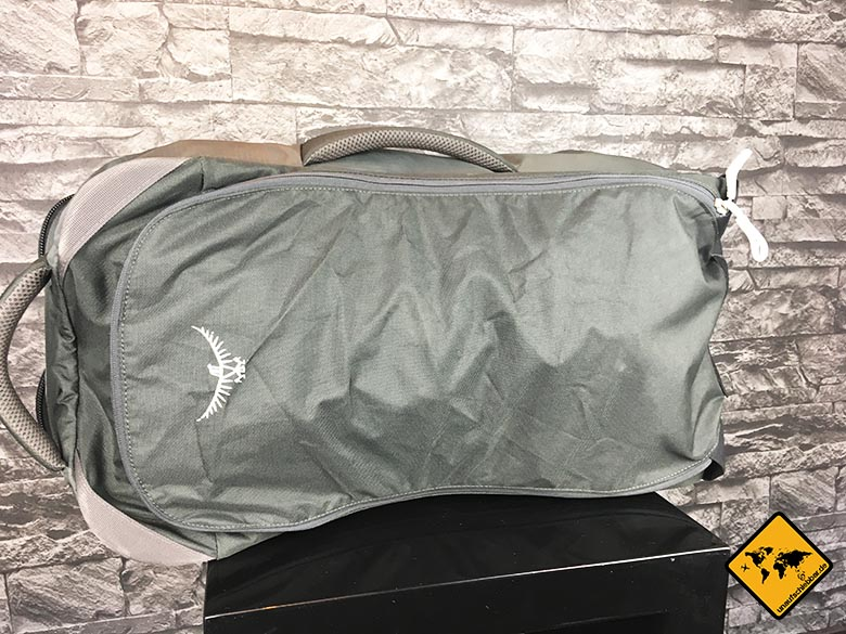 Osprey Farpoint 55 Test verschlossene Reisetasche