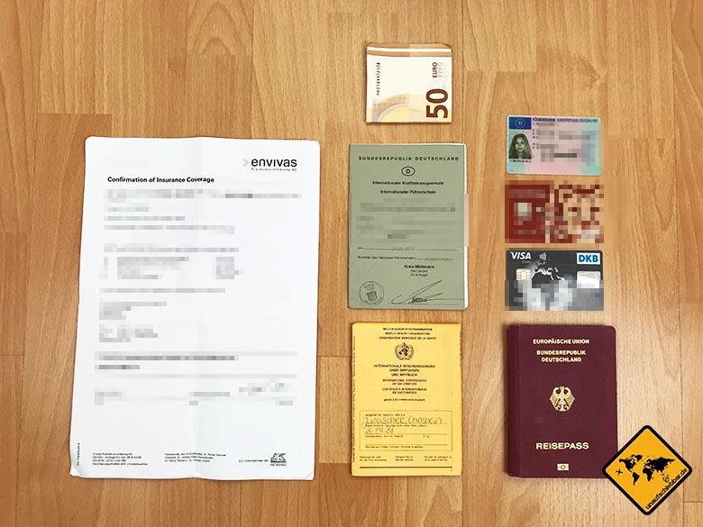 Packliste Urlaub Finanzen Unterlagen Dokumente