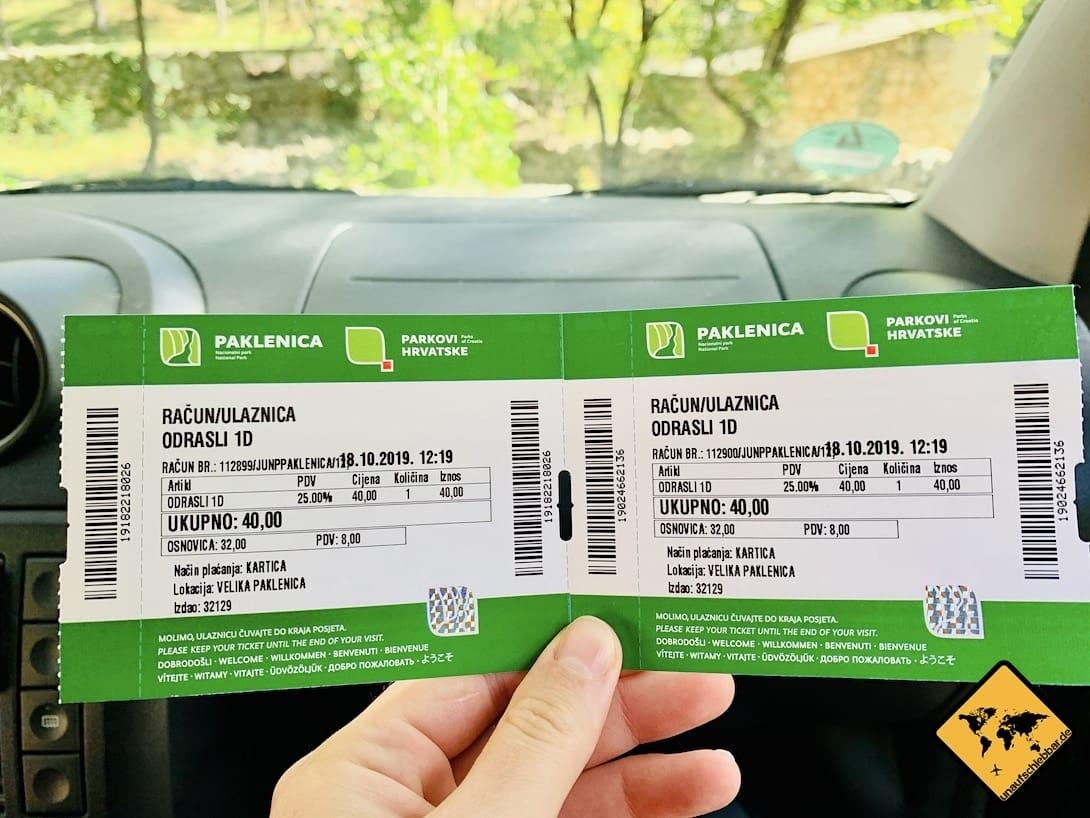 Paklenica Nationalpark Eintrittskarten