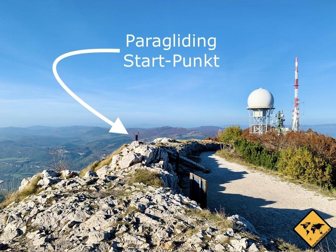 Paragliding Startplatz Vojak Učka Naturpark