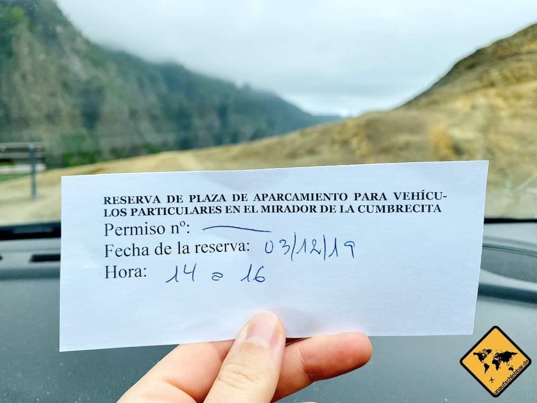 Parkticket Mirador de la Cumbrecita La Palma