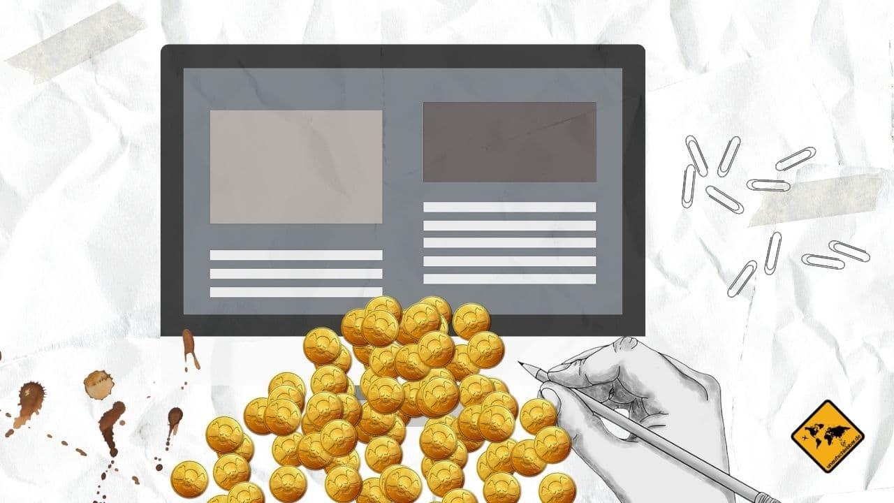 Passives Einkommen Website Homepage Blog
