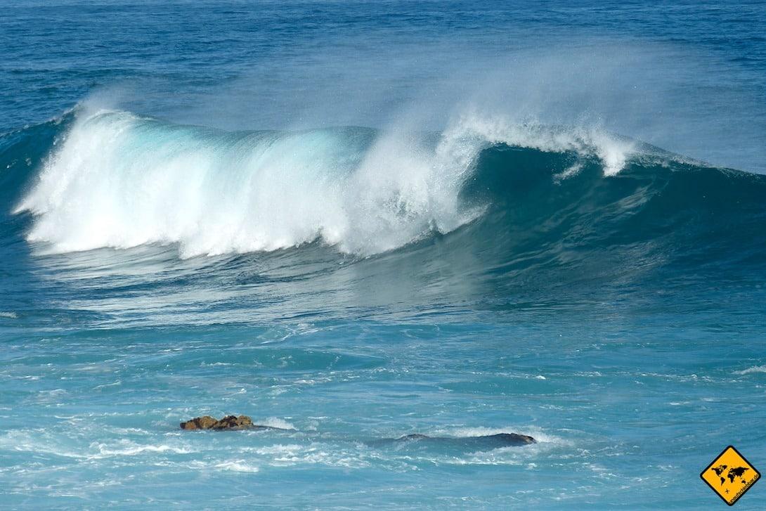 Der Wellengang am Playa Socorro ist stets vorhanden, was das Schwimmen vor allem für Kinder zur Herausforderung macht