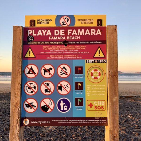 Playa de Famara Lanzarote Tafel