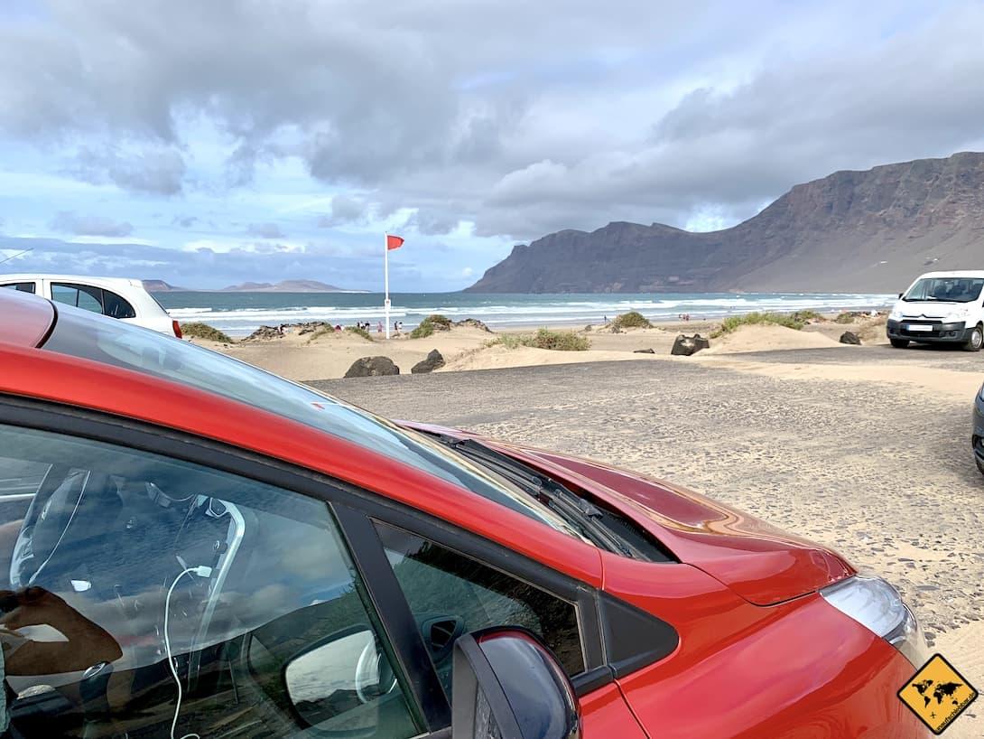 Playa de Famara parken Mietwagen
