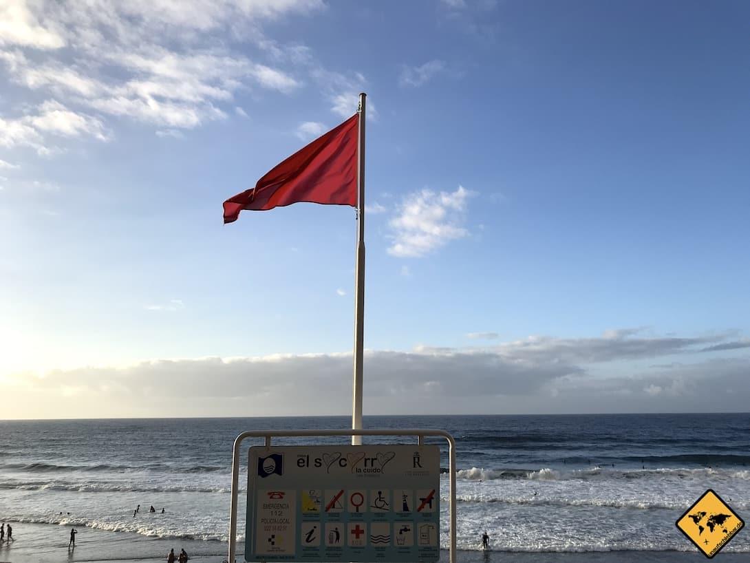 Playa del Socorro rote Flagge