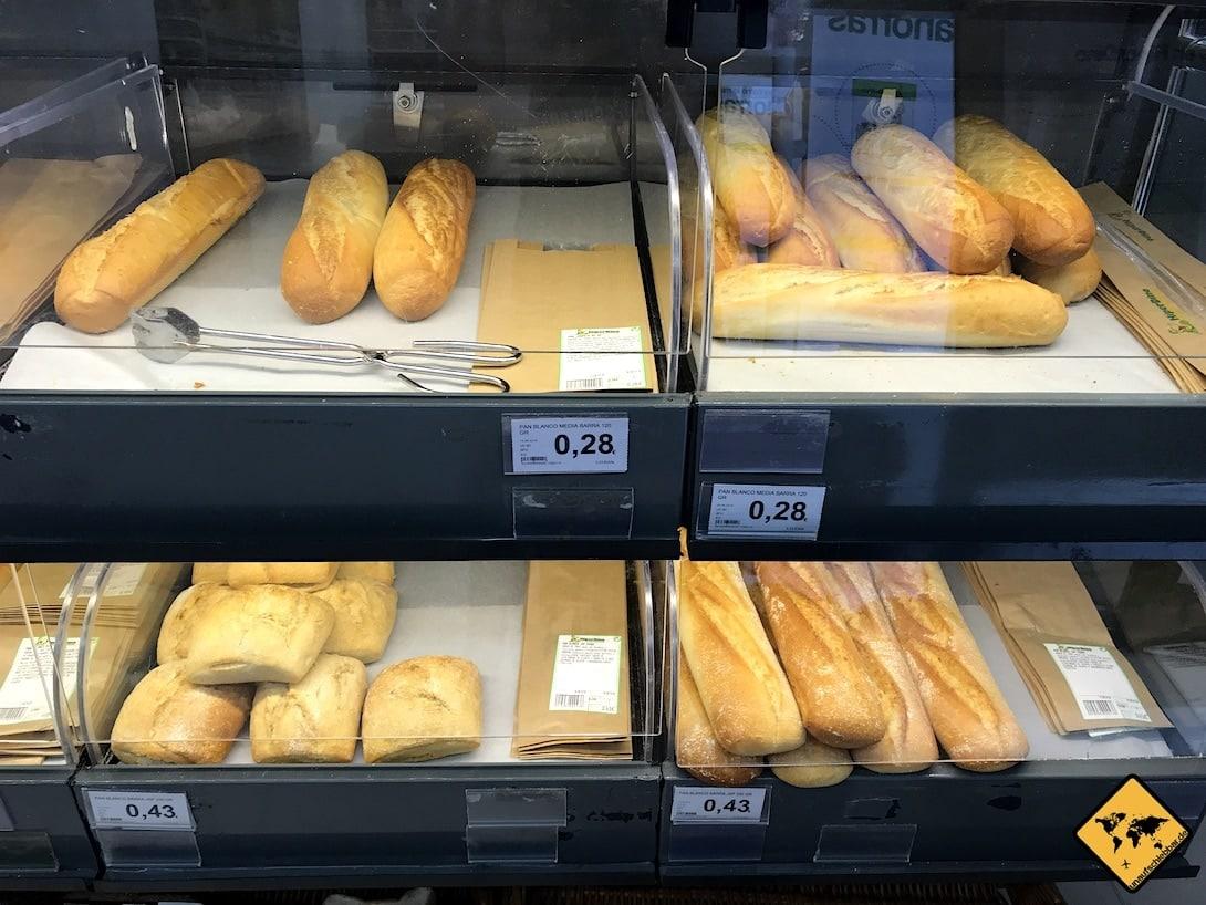 Preise auf Teneriffa Baguette Supermarkt