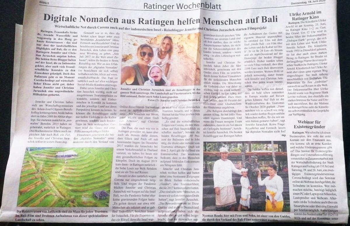 Ratinger Wochenblatt - digitale Nomaden aus Ratingen helfen Menschen aus Bali 18 Juni 2020