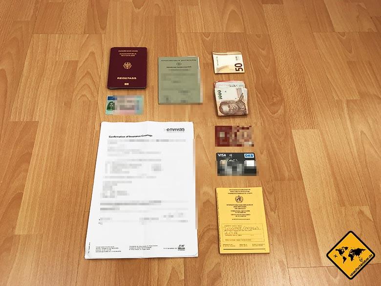 Reisecheckliste Unterlagen USA, Thailand, Malediven, Ägypten