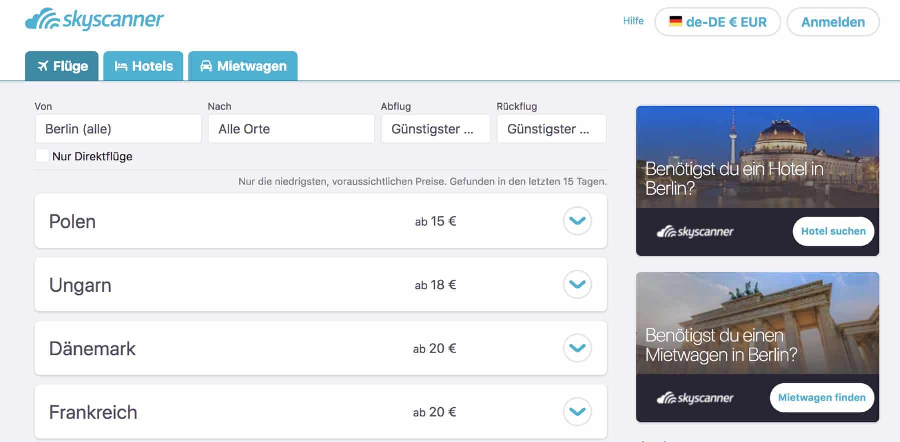 Reiseschnäppchen Skyscanner Flugsuche alle Orte