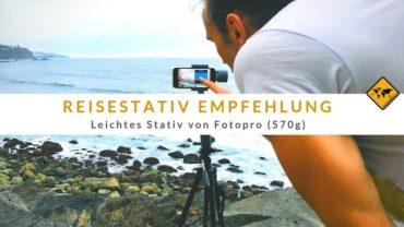 Reisestativ Empfehlung 2019: Leichtes Stativ von Fotopro (570g)