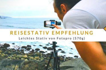 Reisestativ Empfehlung: Leichtes Stativ von Fotopro (570g)