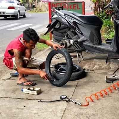Bei unserer Reifenpanne wurde das Rad komplett gewechselt