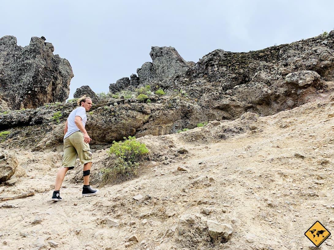 Roque Nublo Wanderung Weg uneben