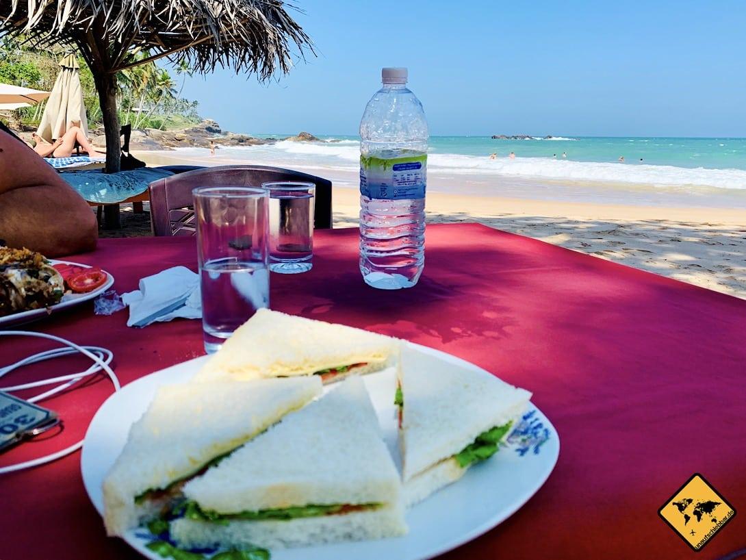 Sandwich Meerblick Strand Sri Lanka