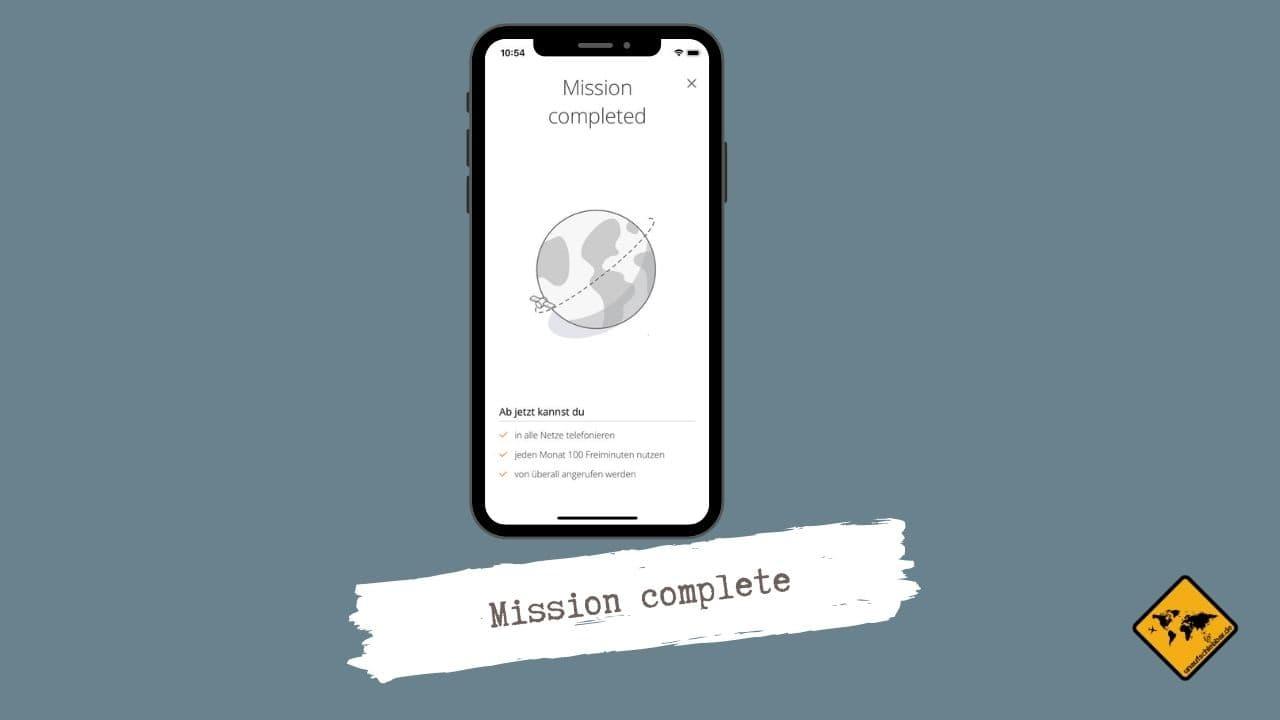 Satellite App Mission complete Verifizierung abgeschlossen