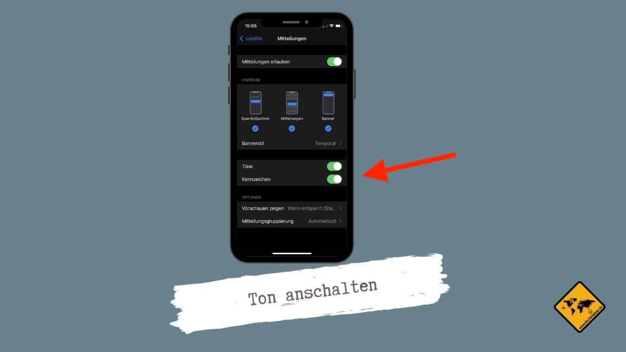 Satellite App klingelt nicht Ton einschalten iPhone