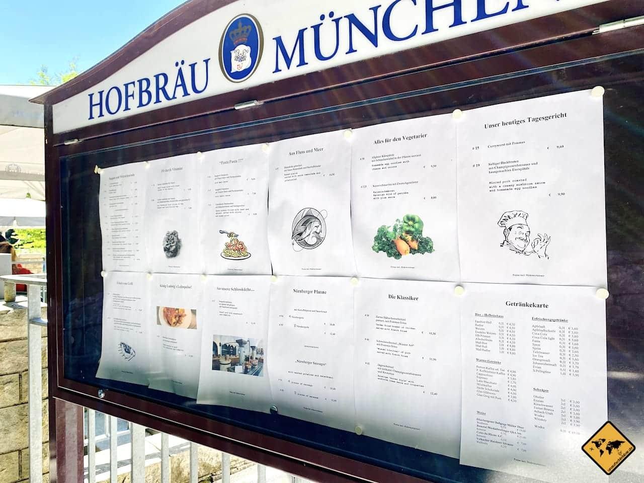 Schlossrestaurant Neuschwanstein Speisekarte