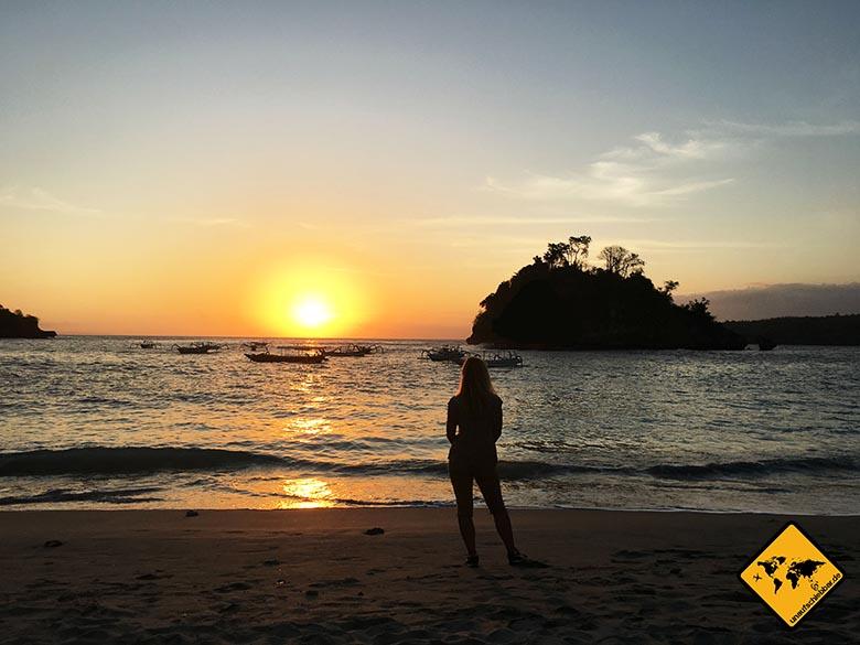 Schönste Strände Bali Crystal Bay Sonnenuntergang