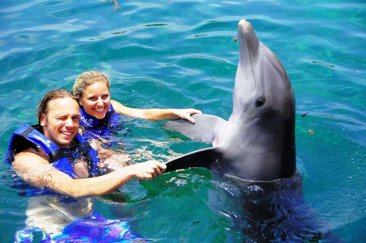 Wir beim Schwimmen mit Delphin Schnuk in Mexiko