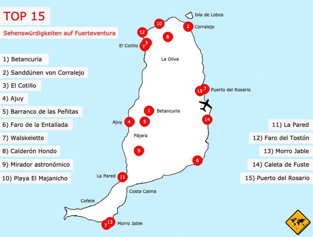 Kanaren Inseln Karte.Top 15 Sehenswurdigkeiten Auf Fuerteventura Inkl Karte