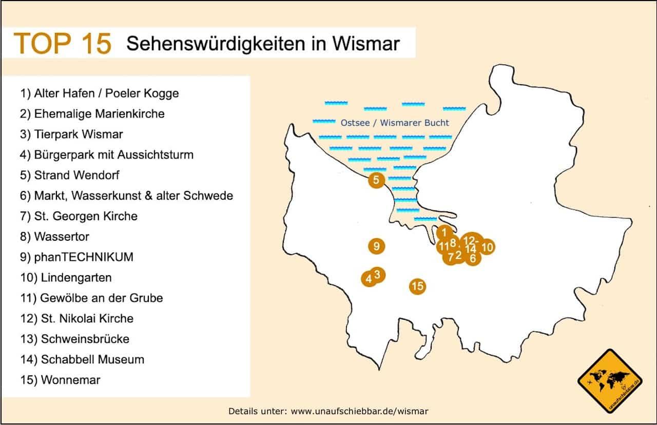 Sehenswürdigkeiten Wismar Karte