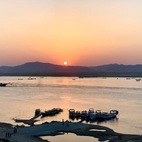 Sonnenuntergang Bagan Bu Paya Pagode Irrawaddy Fluss