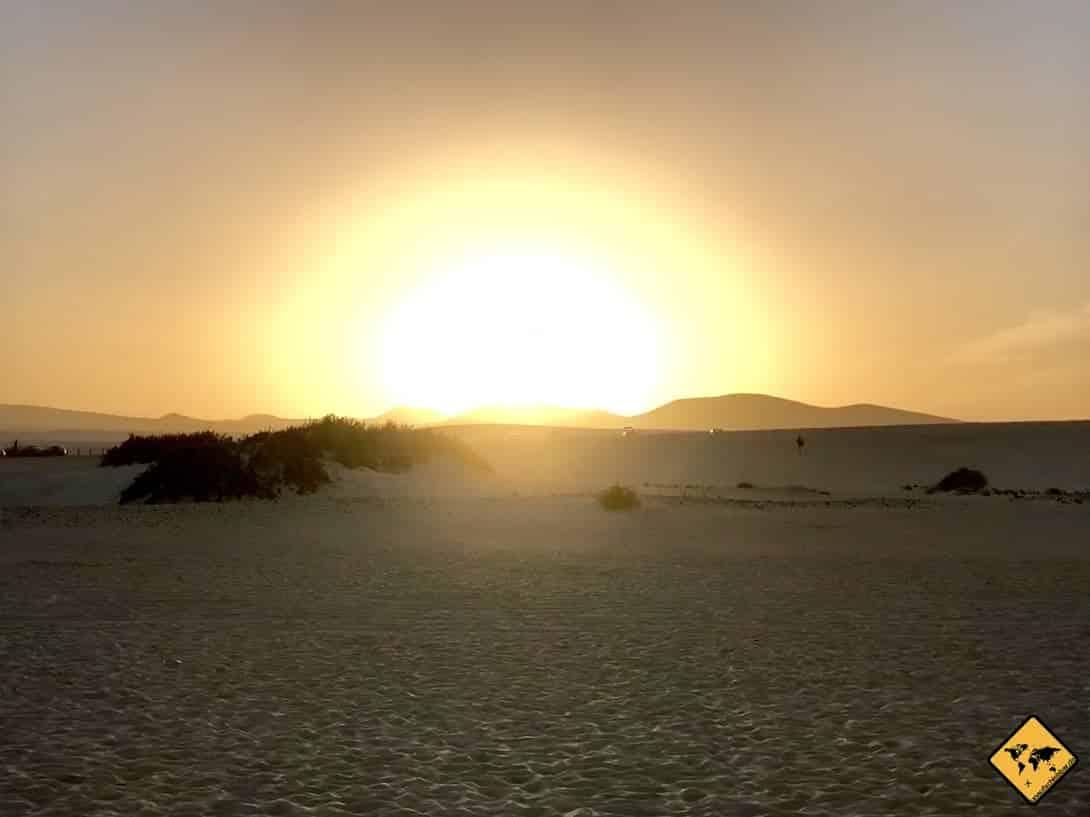 Sonnenuntergang Fuerteventura Sanddünen Corralejo