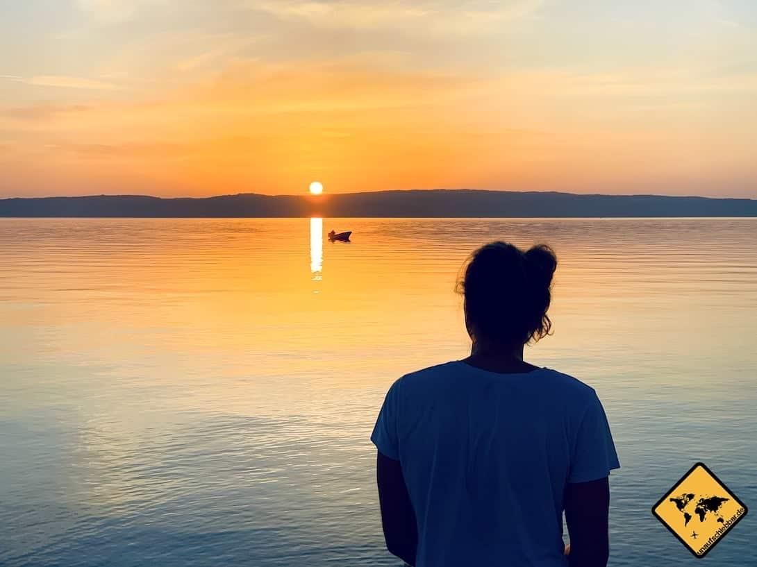 Sonnenuntergang Meer Novi Vinodolski Kroatien