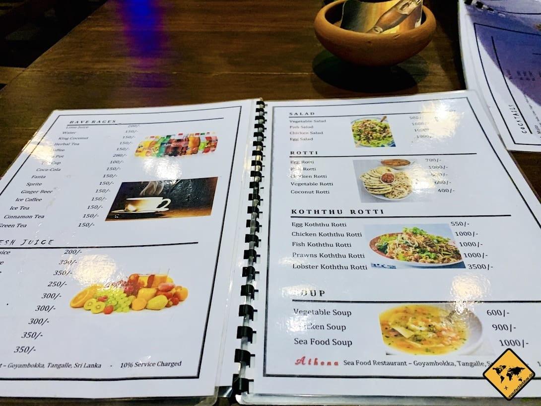 Speisekarte Restaurant Tangalle
