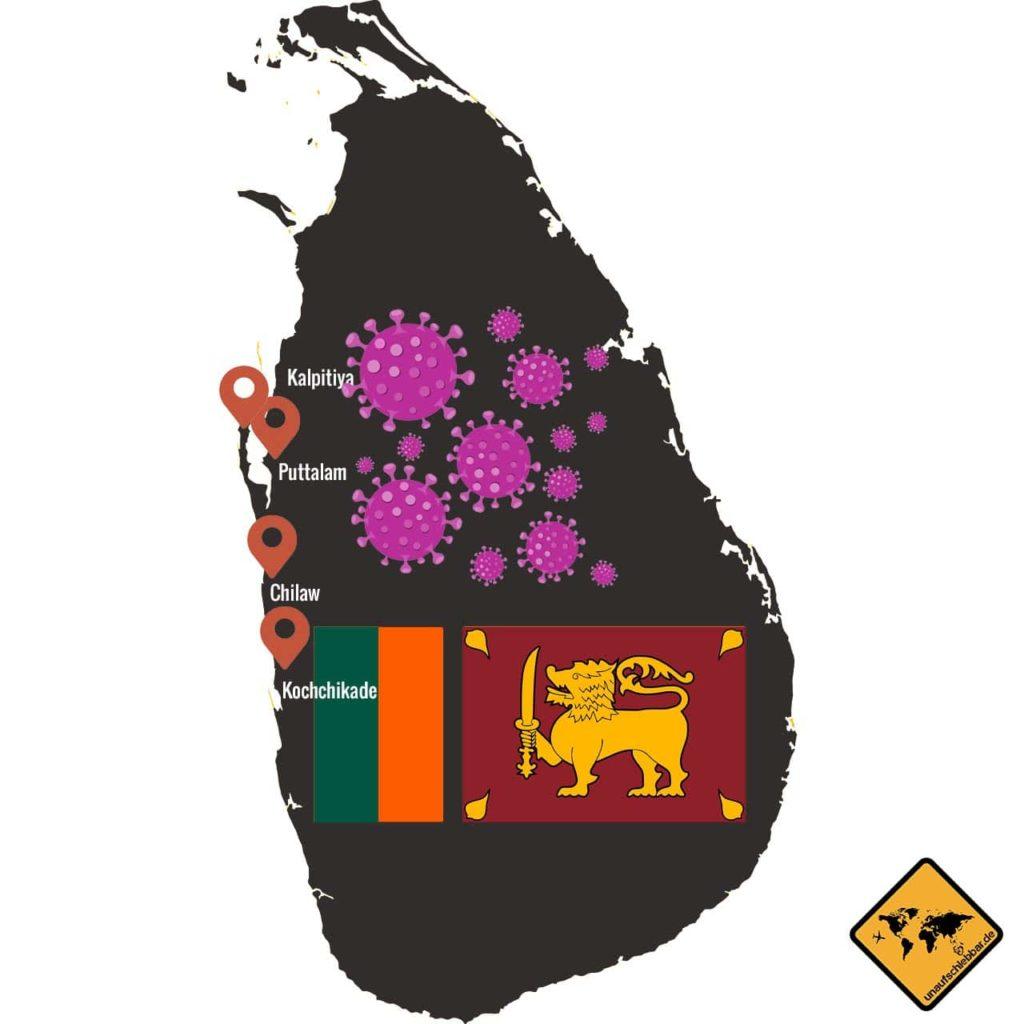 Sri Lanka Karte Puttalam Kalpitiya Chilaw Kochchikade Corona Virus Covid-19