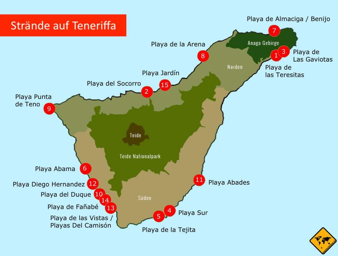 Strände auf Teneriffa Karte