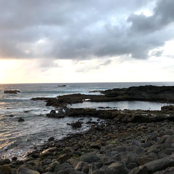 Strände auf Teneriffa Playa de la Arena Sonnenuntergang Naturpool