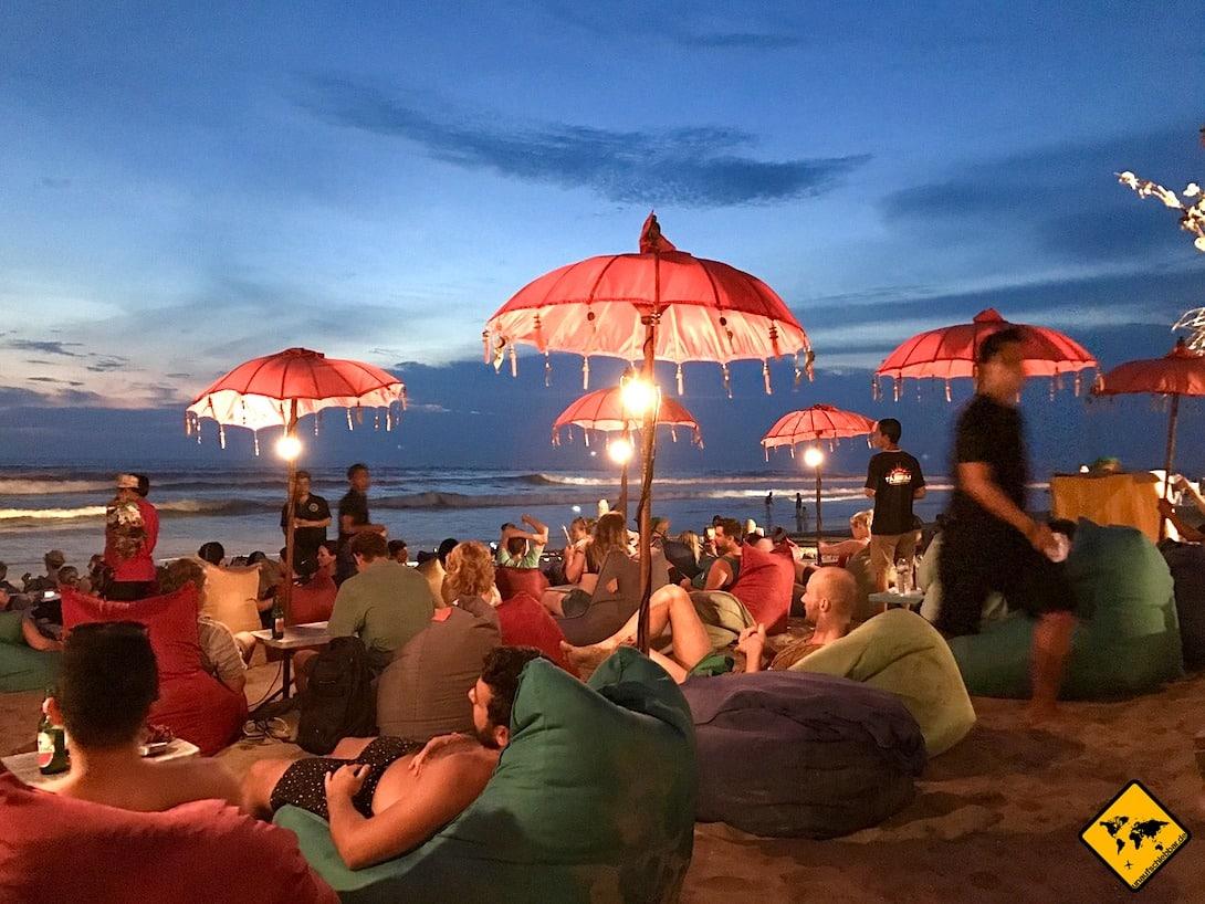 Strandbar Kuta Bali Abend