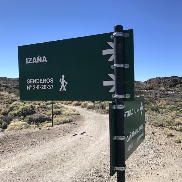 Teide Nationalpark wandern Schild