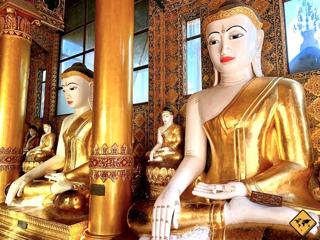 Tempel in Myanmar Shwedagon Pagode Yangon Buddhas
