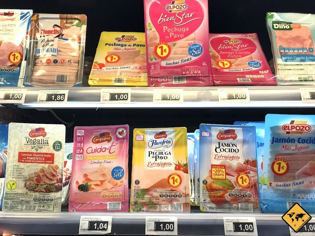 Teneriffa Preise Wurst Supermarkt
