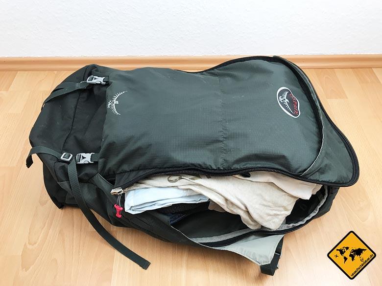 Thailand Packliste Backpacker Rucksack Osprey Farpoint 55 gepackt