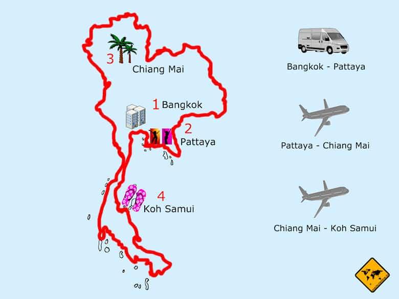 Thailand Rundreise 2 Wochen Route