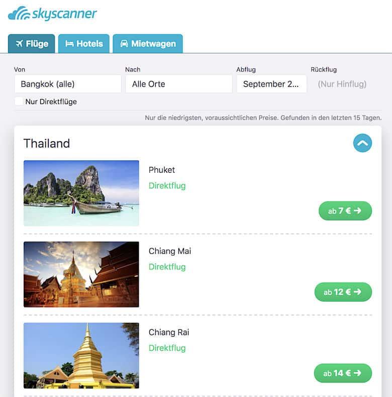 Thailand Urlaub Kosten Inlandsflug