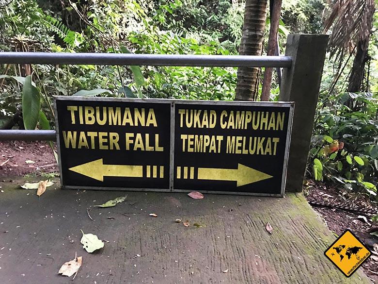 Tibumana Waterfall Beschilderung