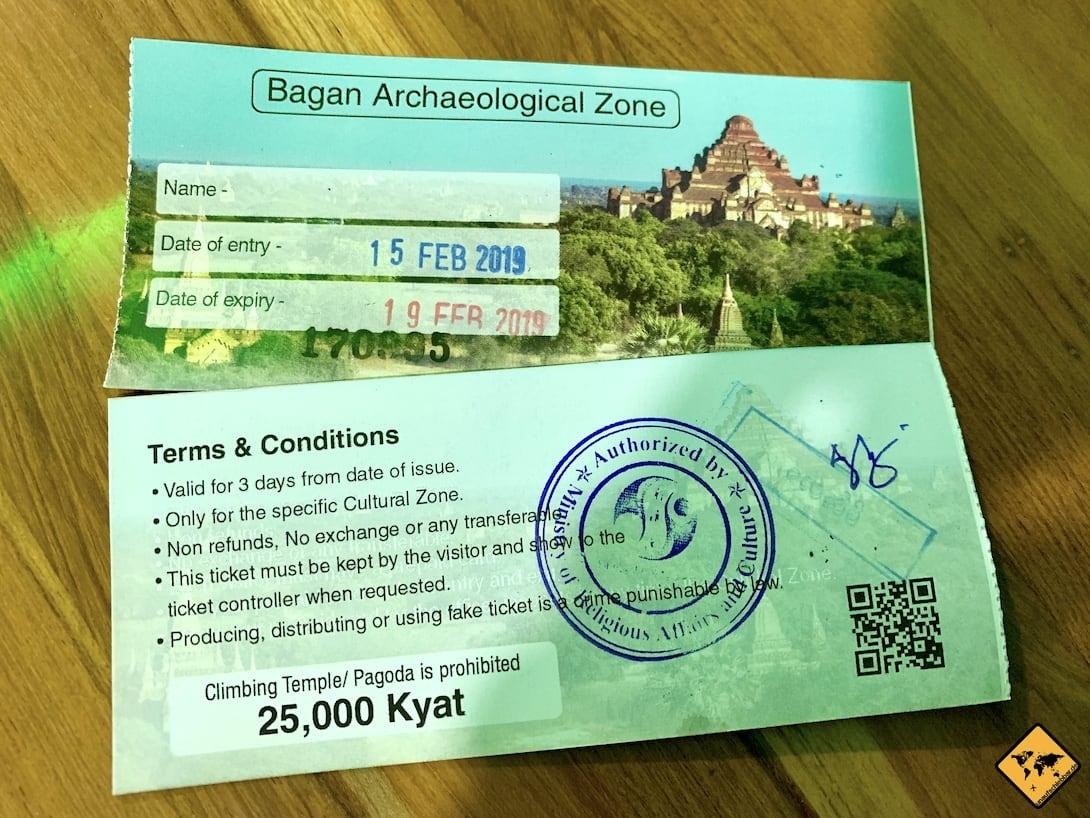 Tickets archäologische Zone Bagan Myanmar