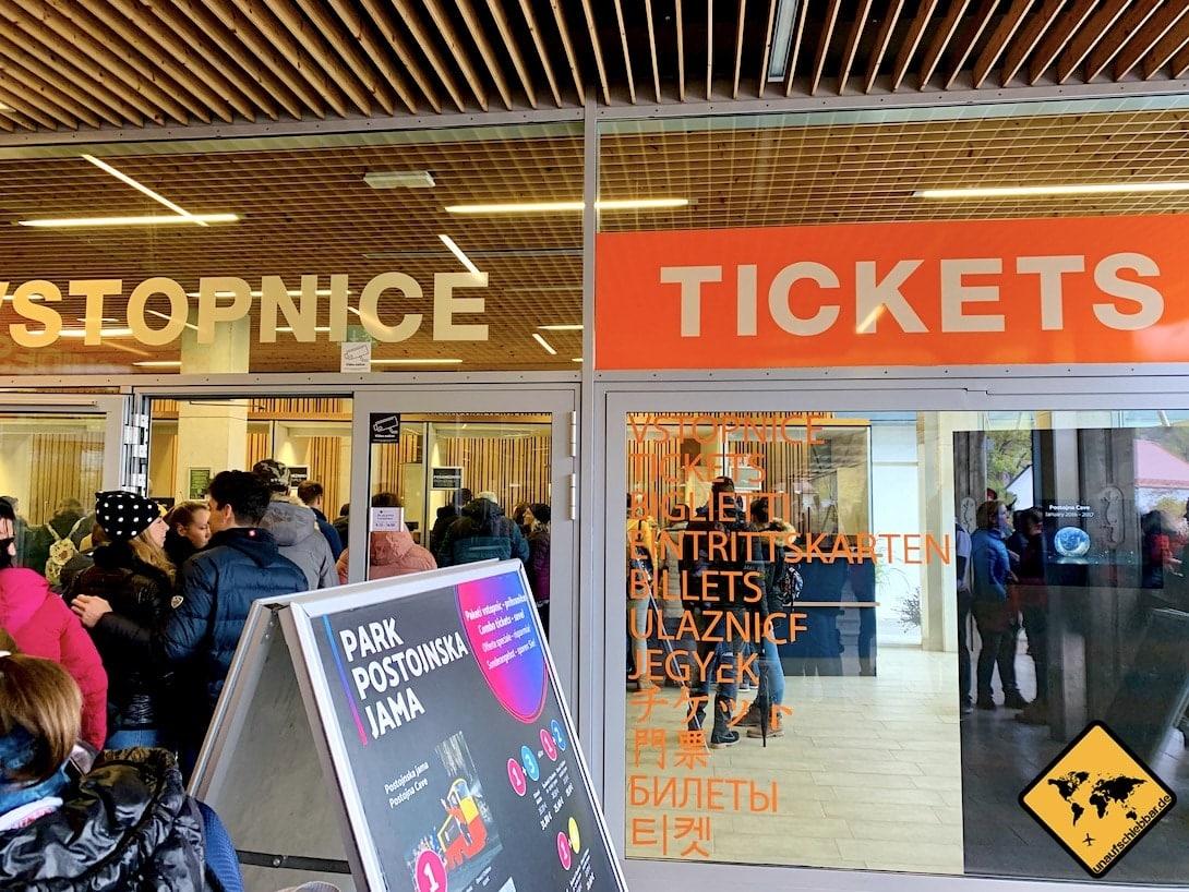 Ticketschalter Postojna Höhle Slowenien
