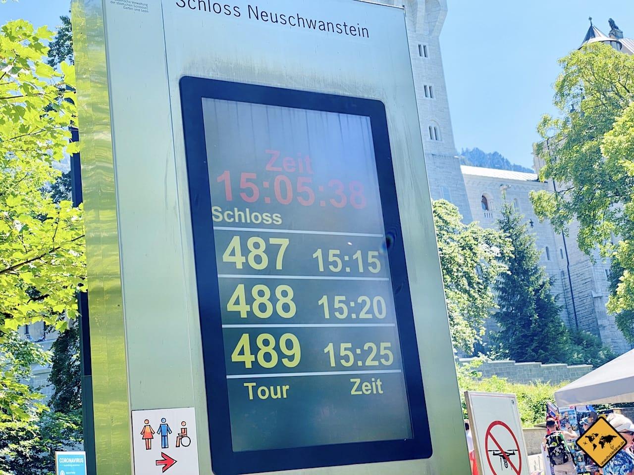 Tourennummern Schloss Neuschwanstein