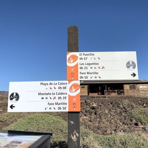 Touristen-Zentrum Wegweiser Isla de Lobos