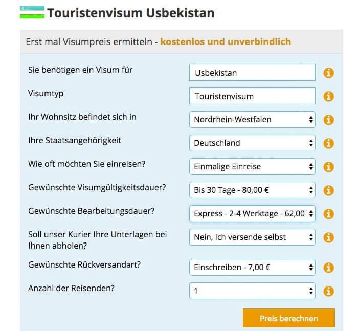 Touristenvisum Usbekistan Antrag Visabox
