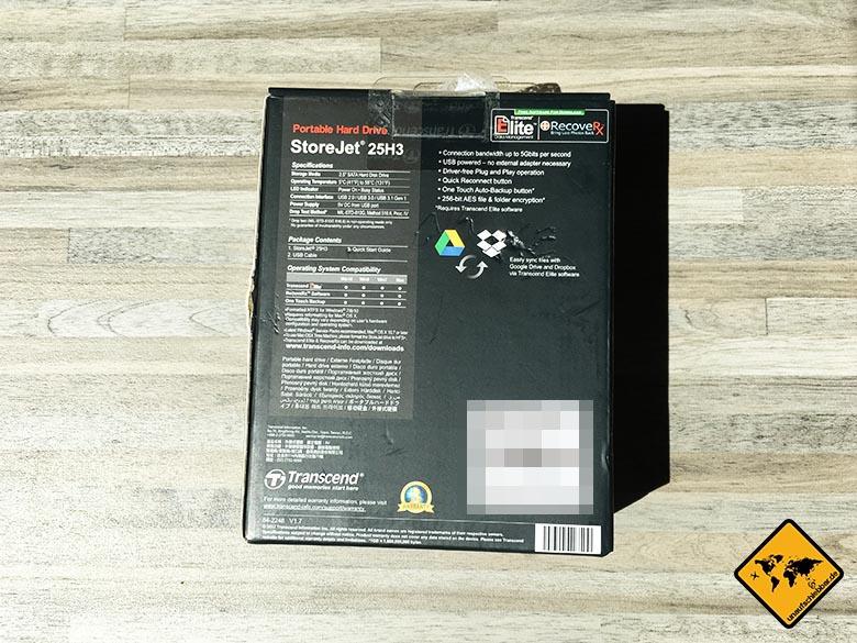 Transcend StoreJet 25h3 Test Externe Reise Festplatte Verpackung Rückseite 2