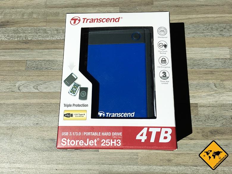 Transcend StoreJet 25h3 Test Externe Reise Festplatte Verpackung