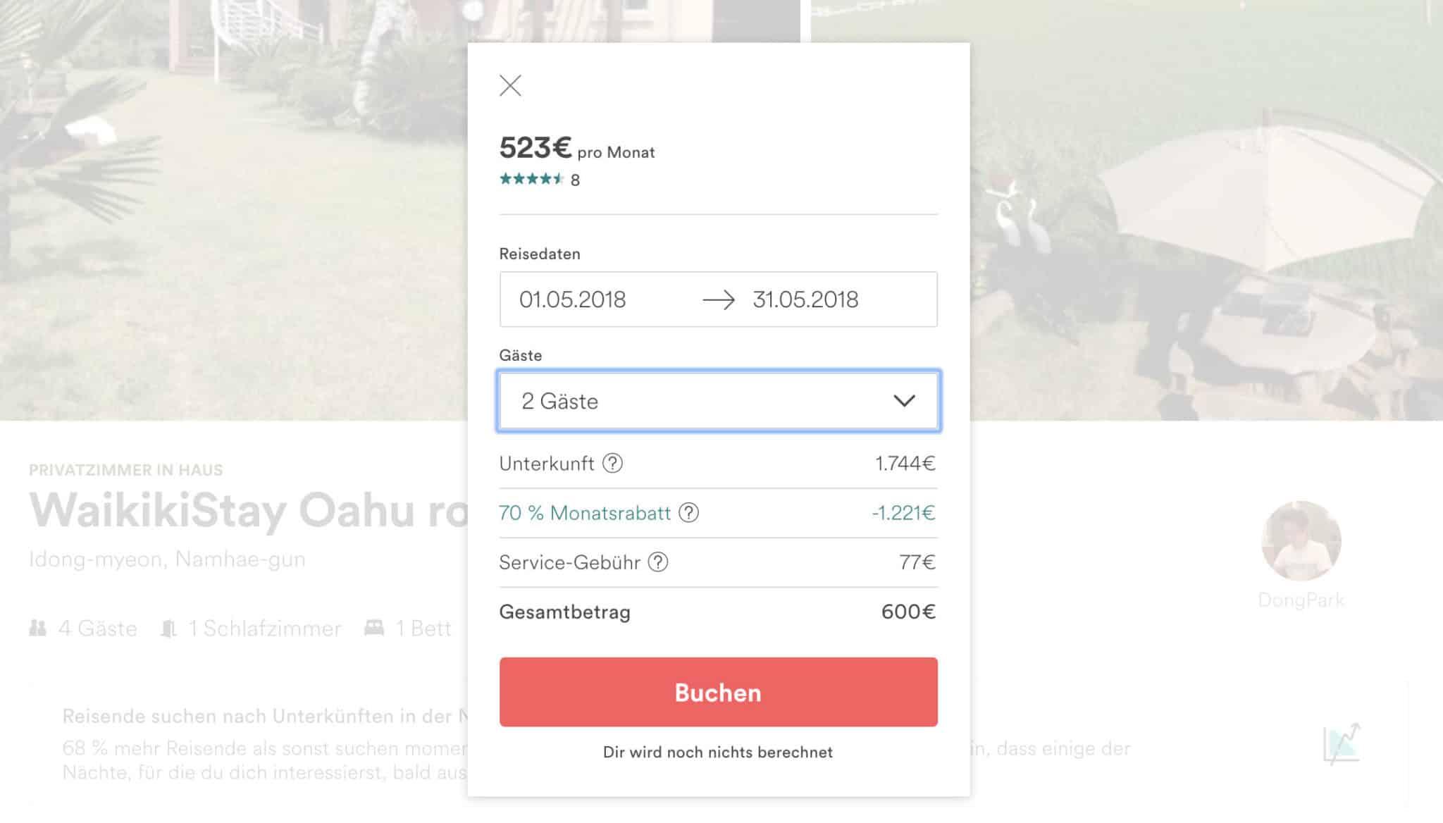 Urlaubsschnäppchen AirBnB Monatsrabatt