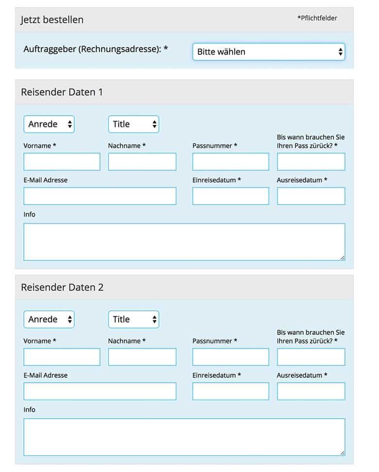 Visabox Erfahrungen Bestelldaten eingeben